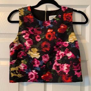 Eliza J Floral Crop Top Back Zipper